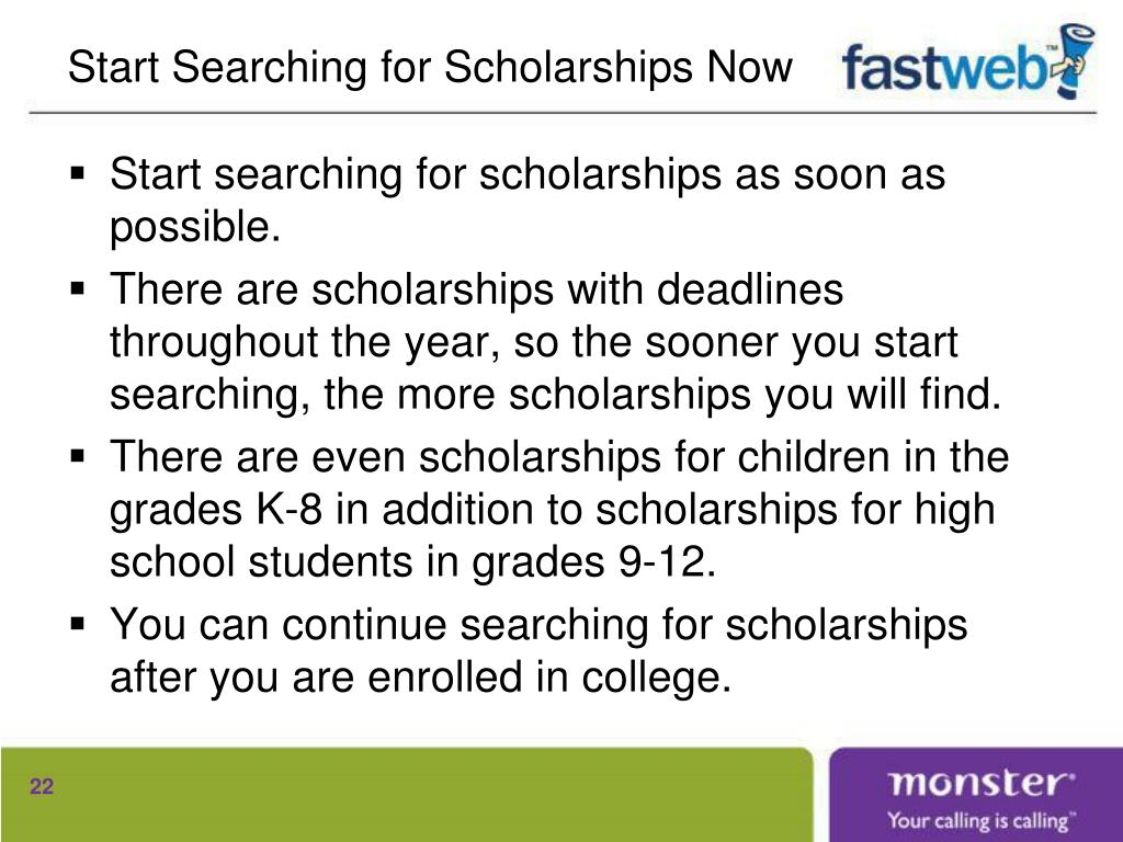 Start Searching for Scholarships Now