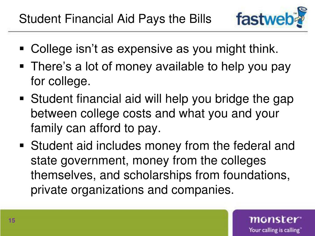 Student Financial Aid Pays the Bills