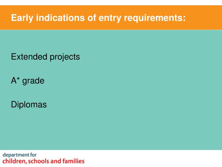 Early indications of entry requirements: