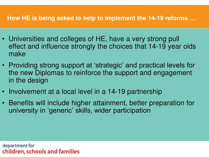 How HE is being asked to help to implement the 14-19 reforms….