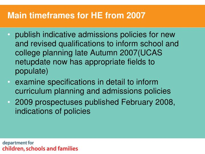 Main timeframes for HE from 2007