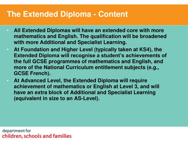 The Extended Diploma - Content
