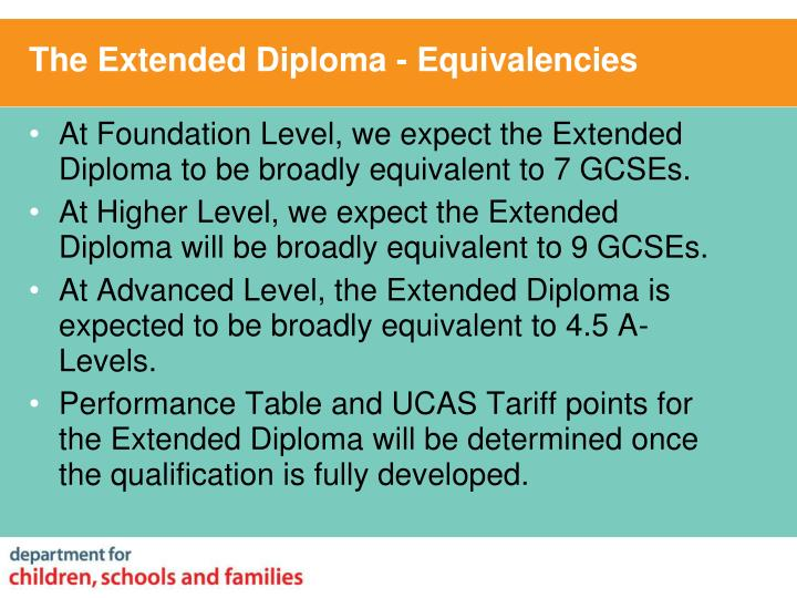 The Extended Diploma - Equivalencies