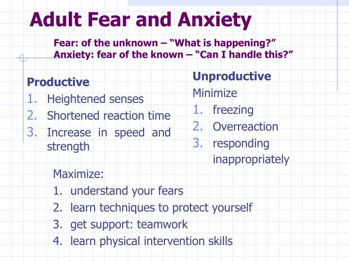 adult anxiety and fear