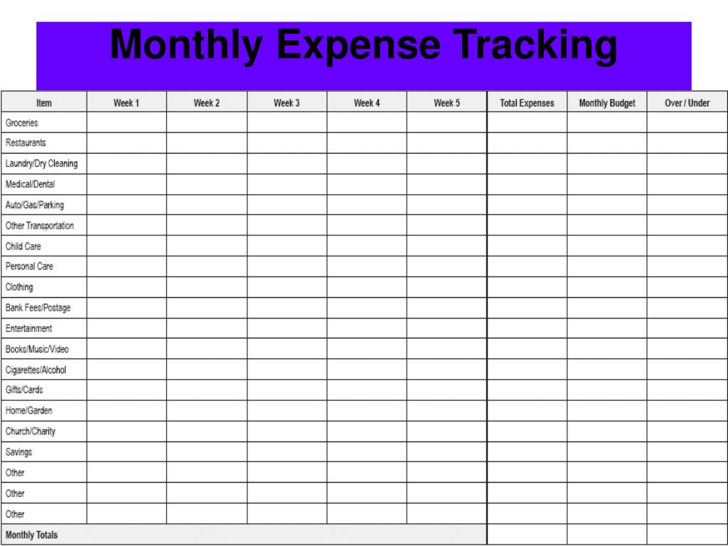 Monthly Expense Tracking