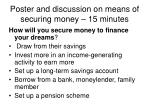 poster and discussion on means of securing money 15 minutes