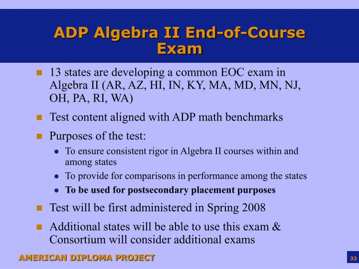 ADP Algebra II End-of-Course Exam
