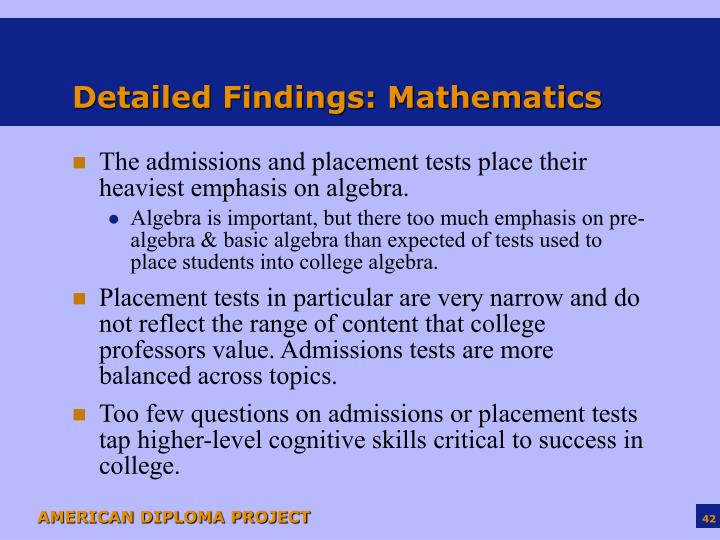 Detailed Findings: Mathematics