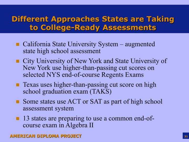 Different Approaches States are Taking to College-Ready Assessments