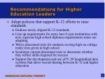 recommendations for higher education leaders1