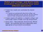 states with college and work ready graduation requirements have taken different approaches