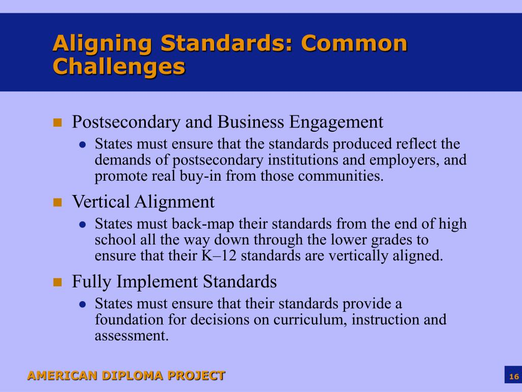 Aligning Standards: Common Challenges