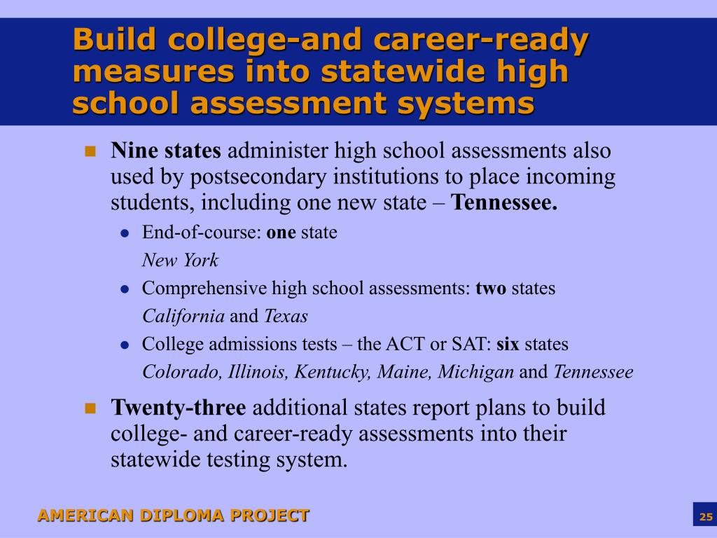 Build college-and career-ready measures into statewide high school assessment systems