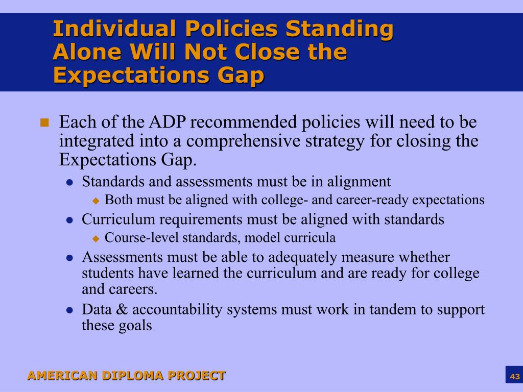 Individual Policies Standing Alone Will Not Close the Expectations Gap