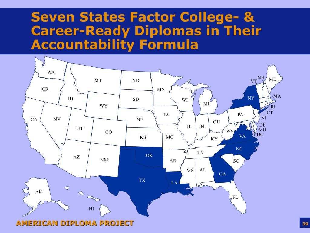 Seven States Factor College- & Career-Ready Diplomas in Their Accountability Formula