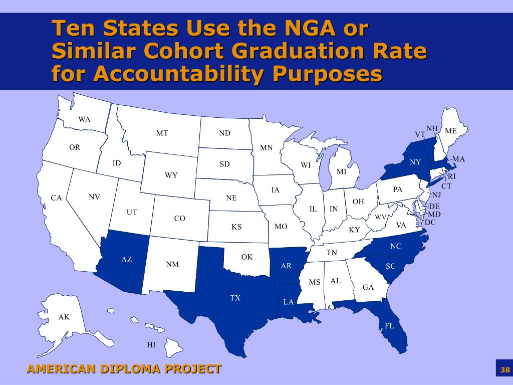 Ten States Use the NGA or Similar Cohort Graduation Rate for Accountability Purposes