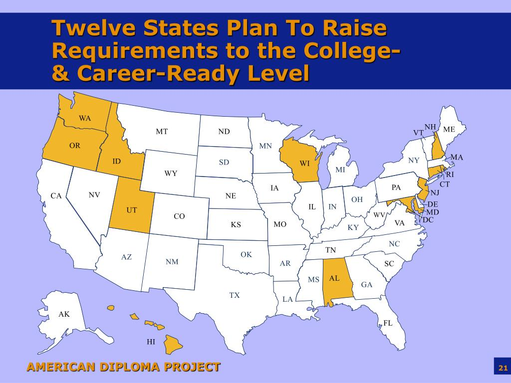 Twelve States Plan To Raise Requirements to the College- & Career-Ready Level