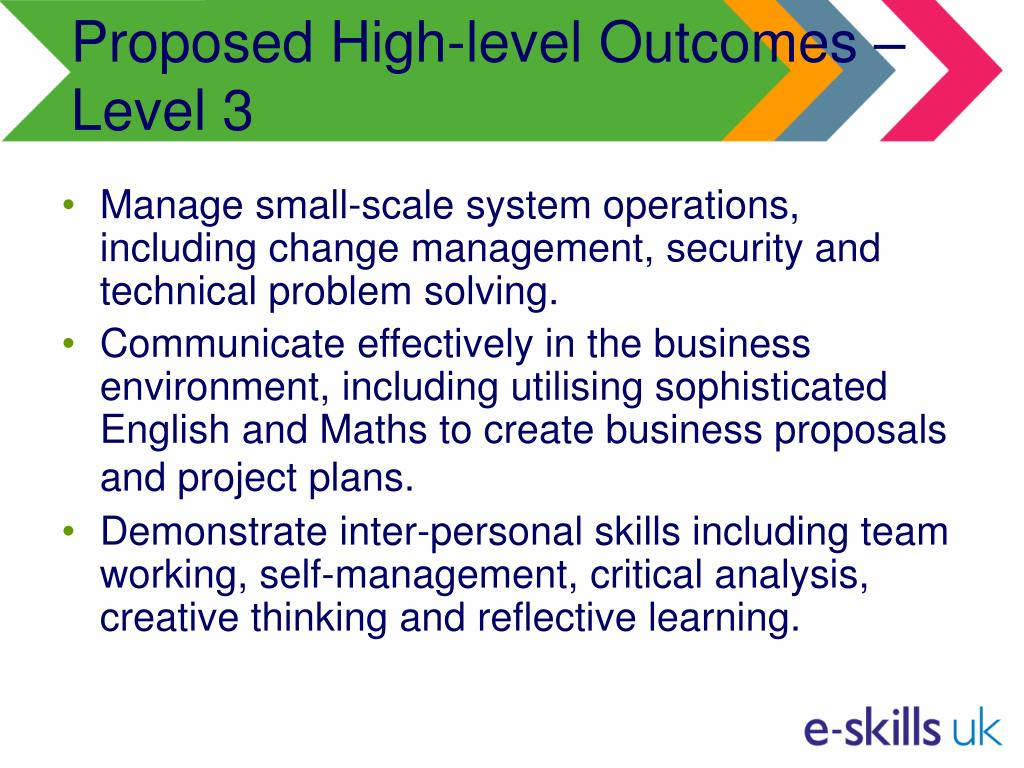 Proposed High-level Outcomes – Level 3