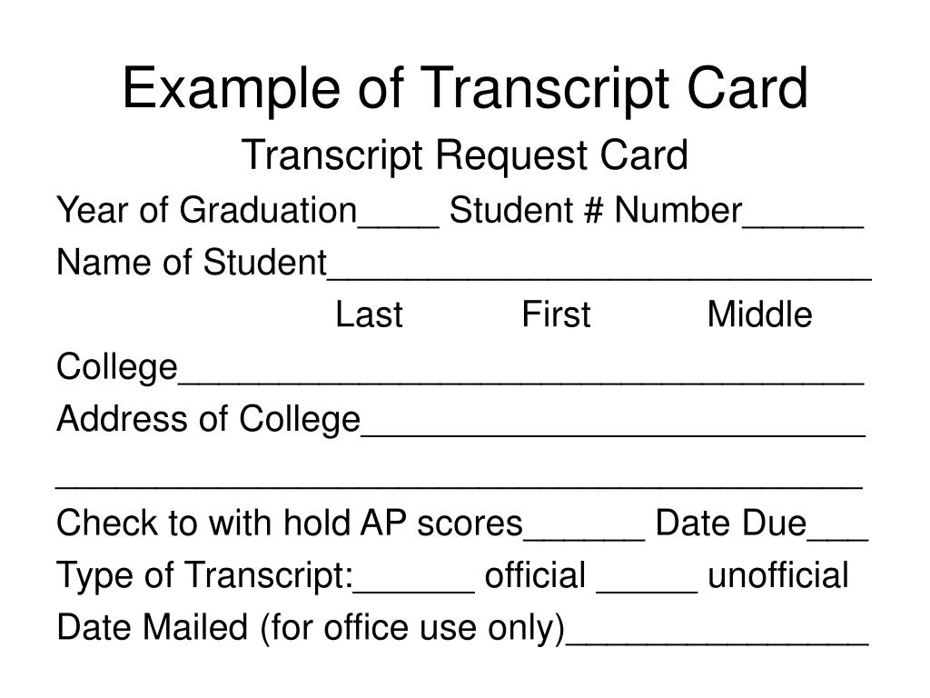 Example of Transcript Card