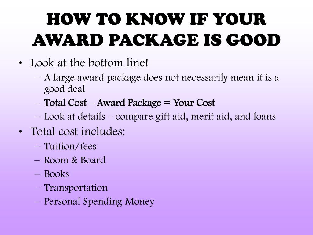 HOW TO KNOW IF YOUR AWARD PACKAGE IS GOOD