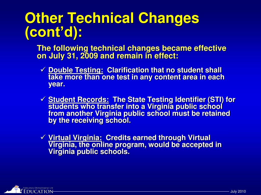 Other Technical Changes (cont'd):