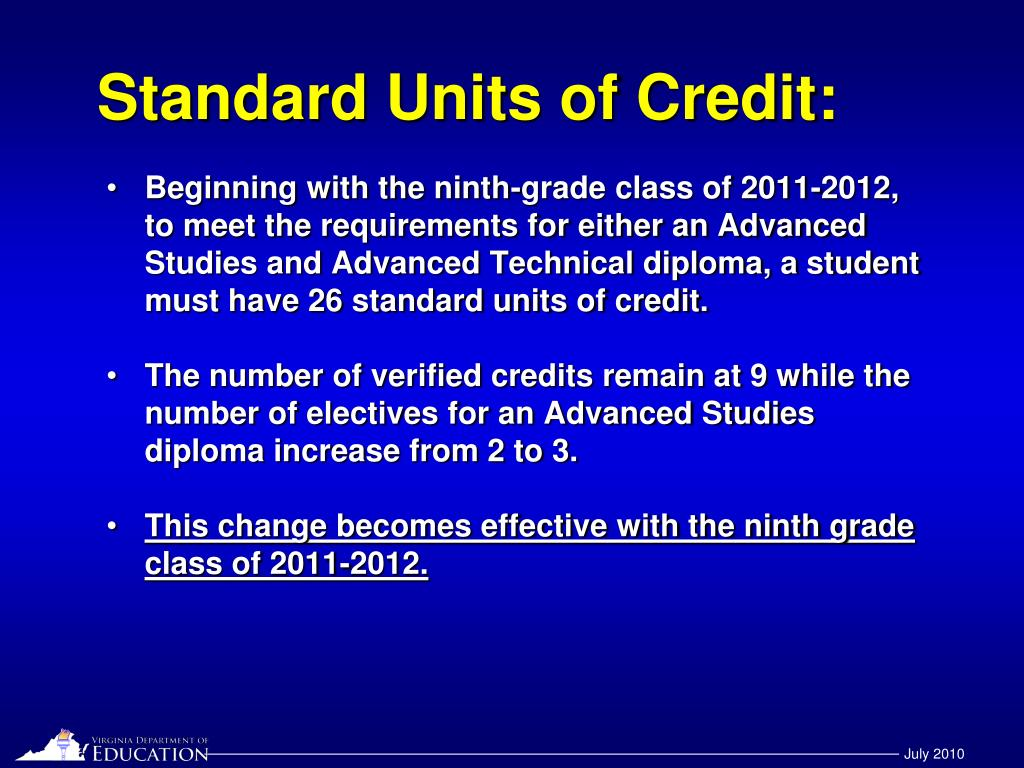Standard Units of Credit: