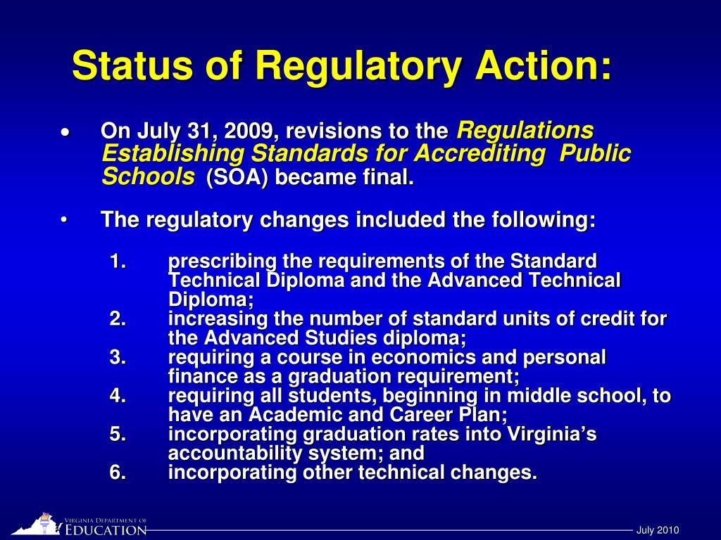 Status of Regulatory Action: