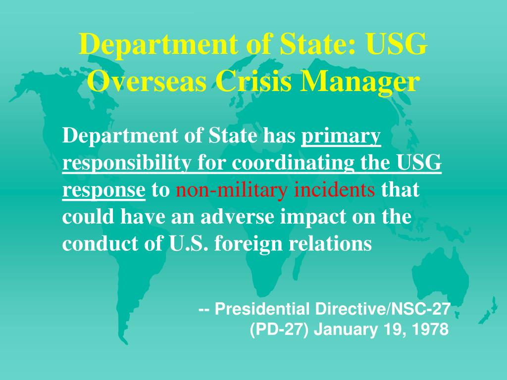 Department of State: USG Overseas Crisis Manager