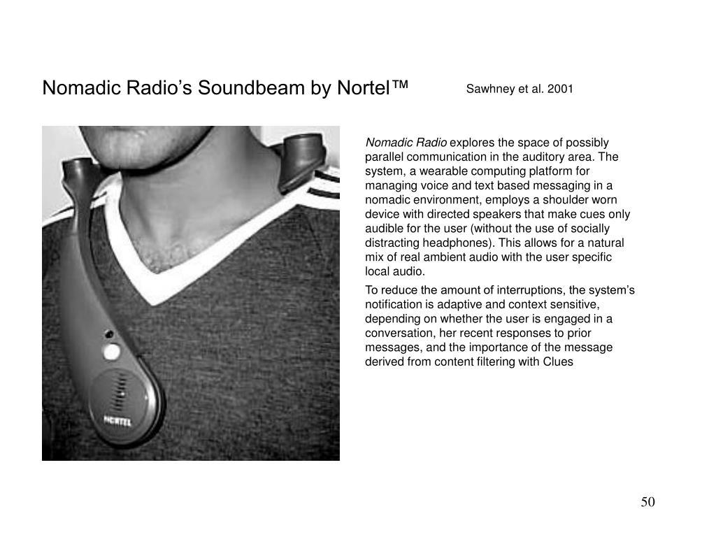 Nomadic Radio's Soundbeam by Nortel™