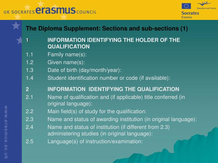 The Diploma Supplement: Sections and sub-sections (1)