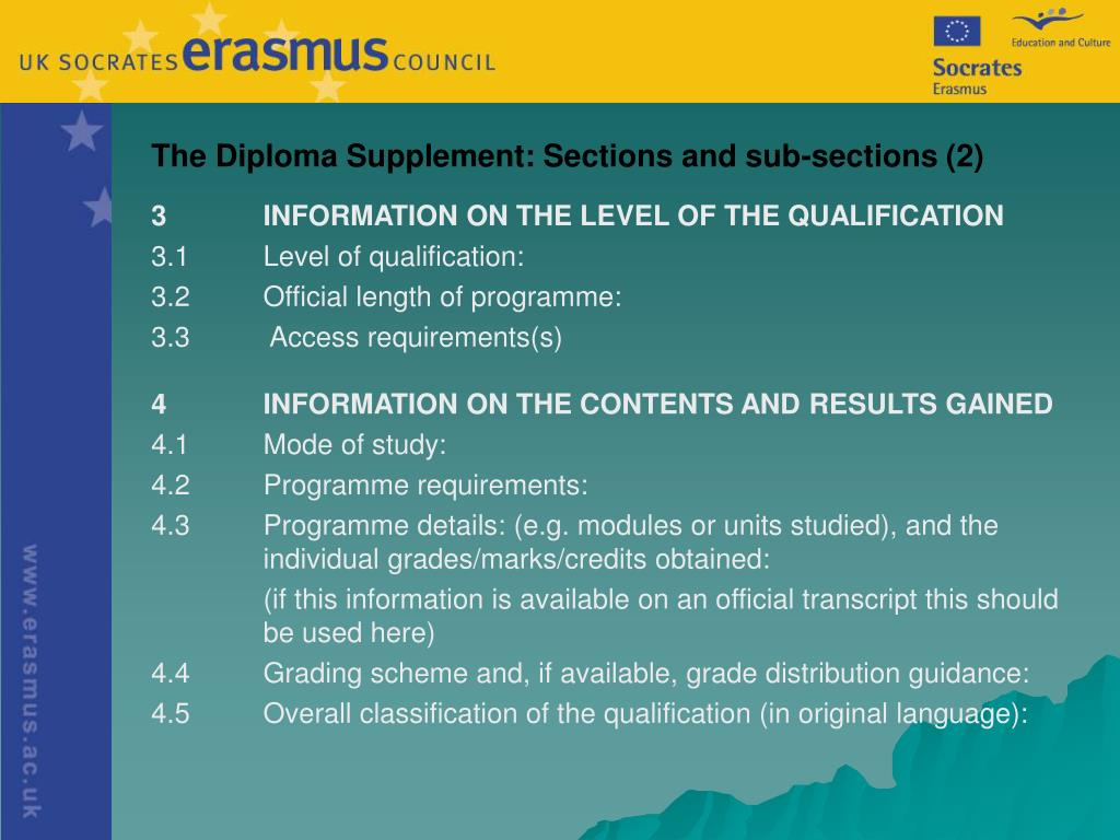 The Diploma Supplement: Sections and sub-sections (2)