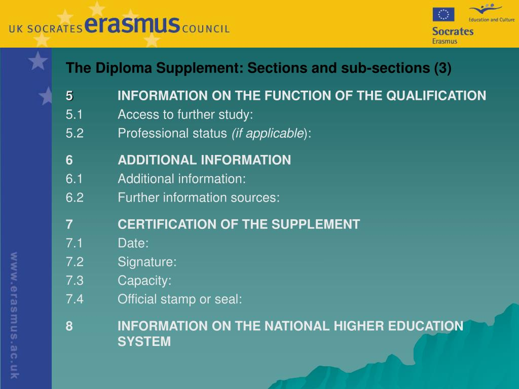 The Diploma Supplement: Sections and sub-sections (3)