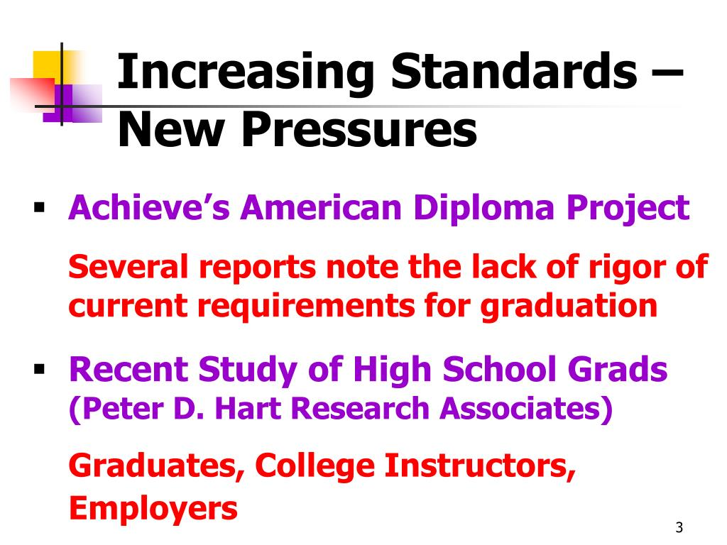 Increasing Standards – New Pressures