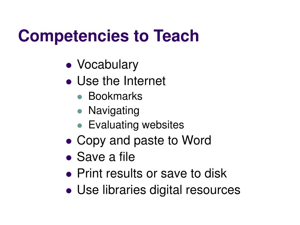 Competencies to Teach