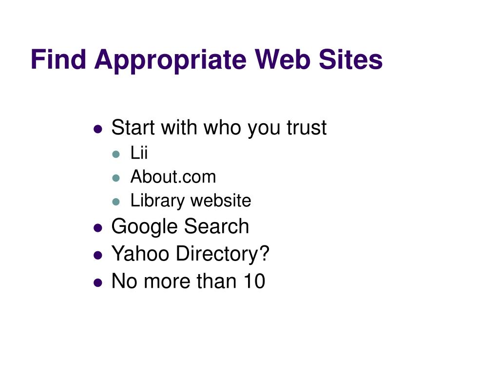 Find Appropriate Web Sites