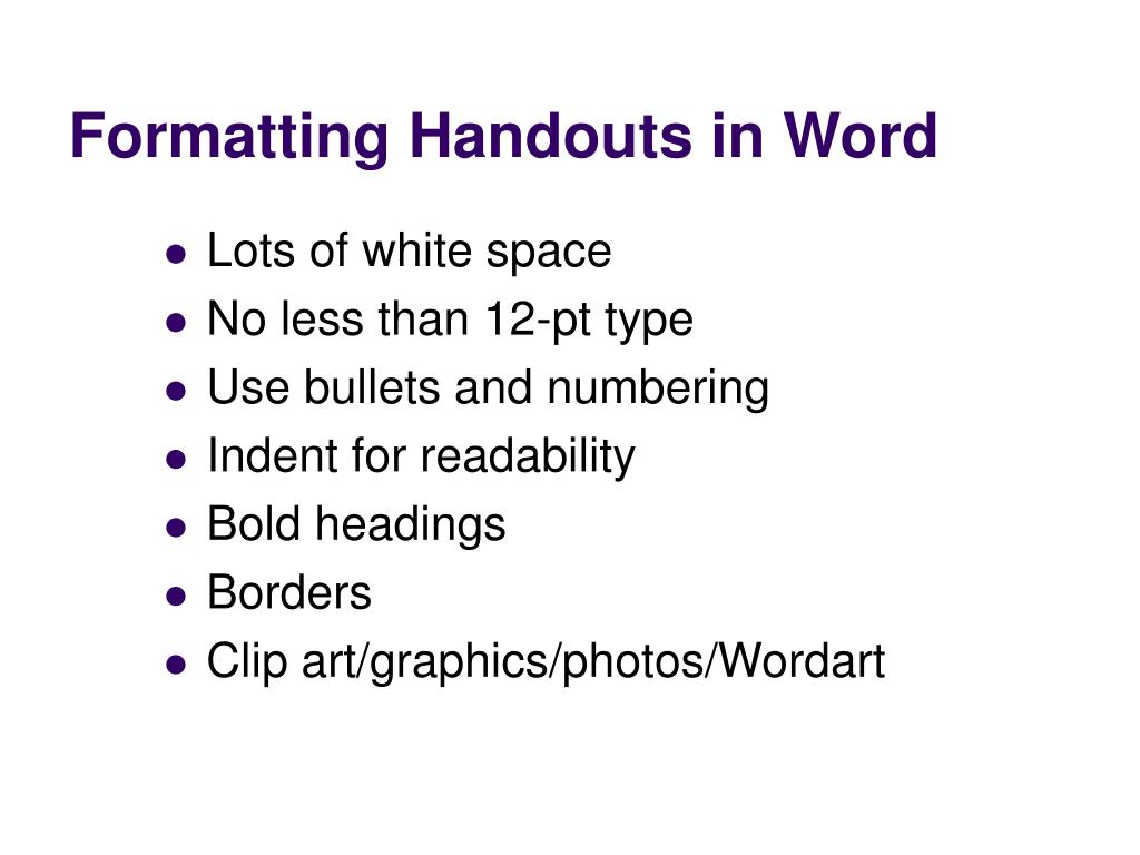Formatting Handouts in Word