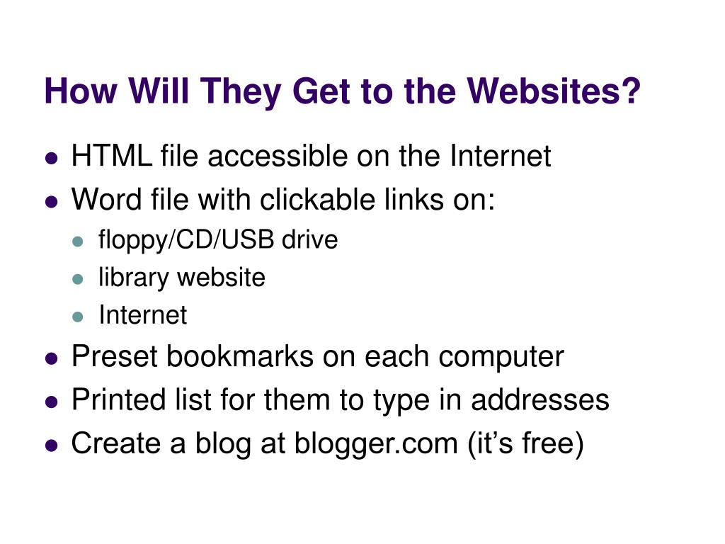 How Will They Get to the Websites?