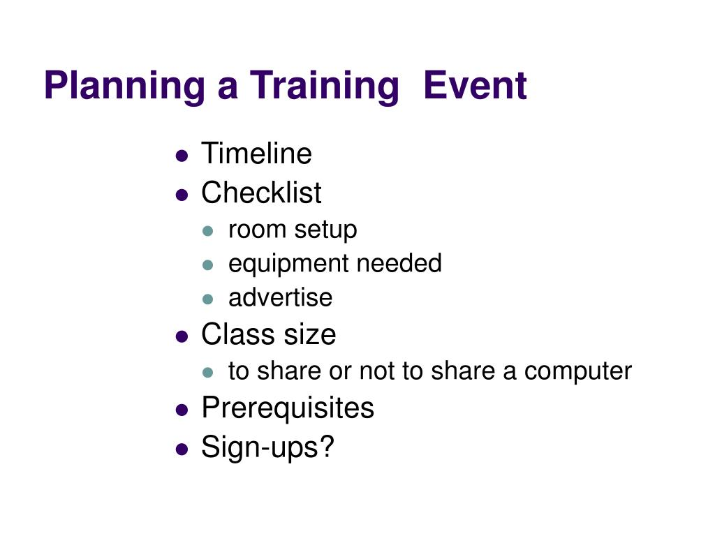 Planning a Training  Event