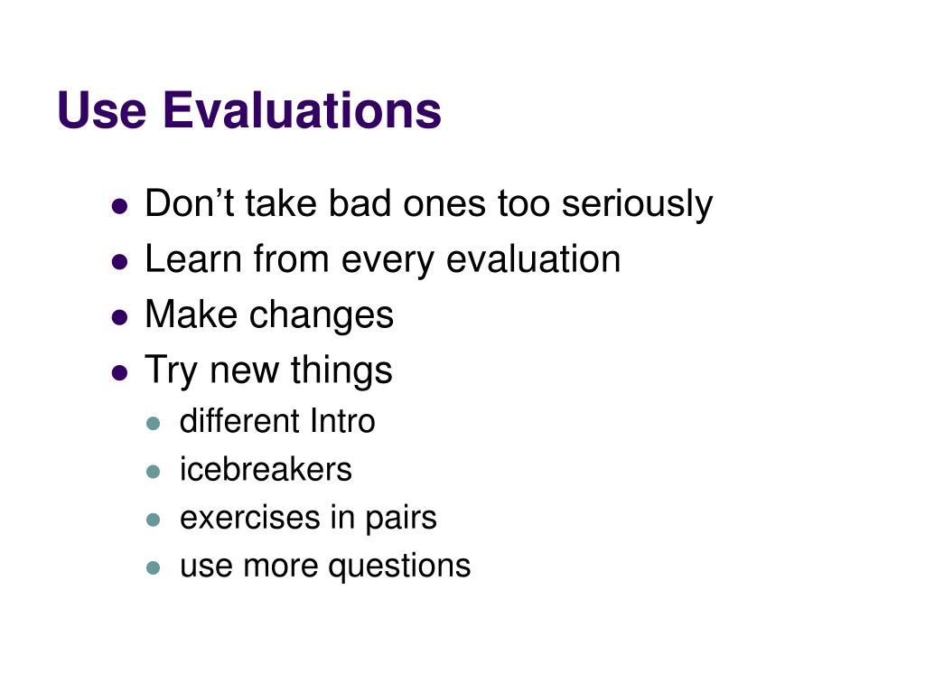 Use Evaluations