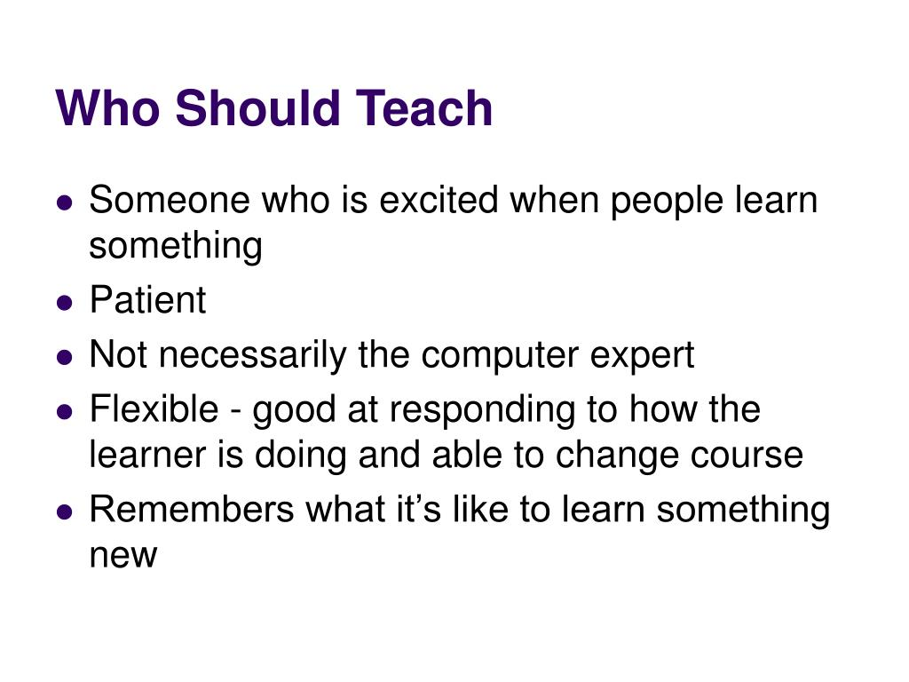 Who Should Teach
