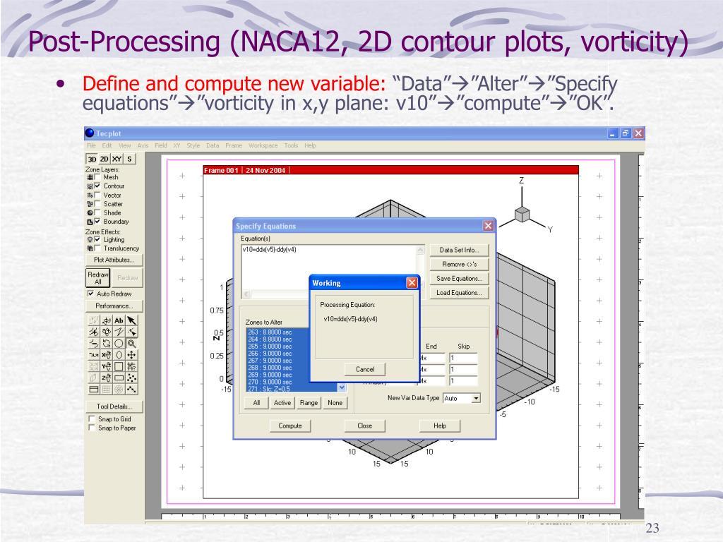 Post-Processing (NACA12, 2D contour plots, vorticity)