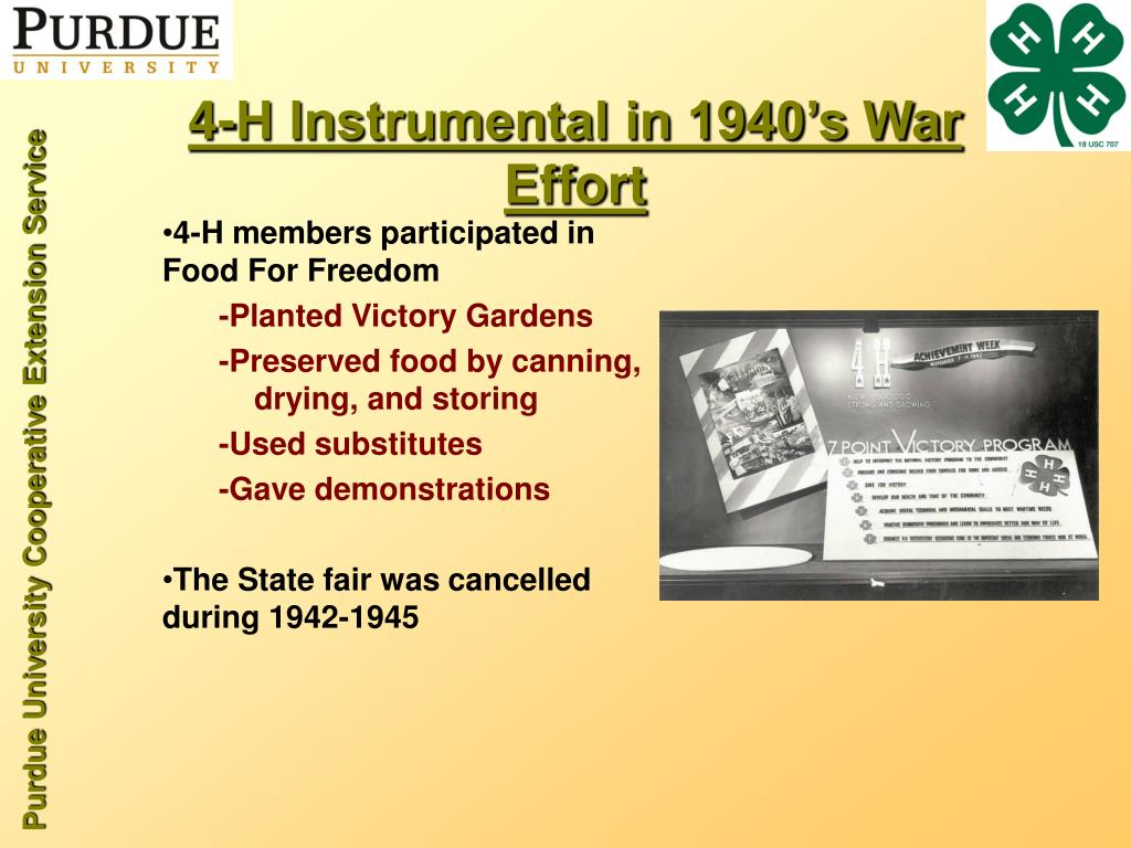 4-H Instrumental in 1940's War Effort