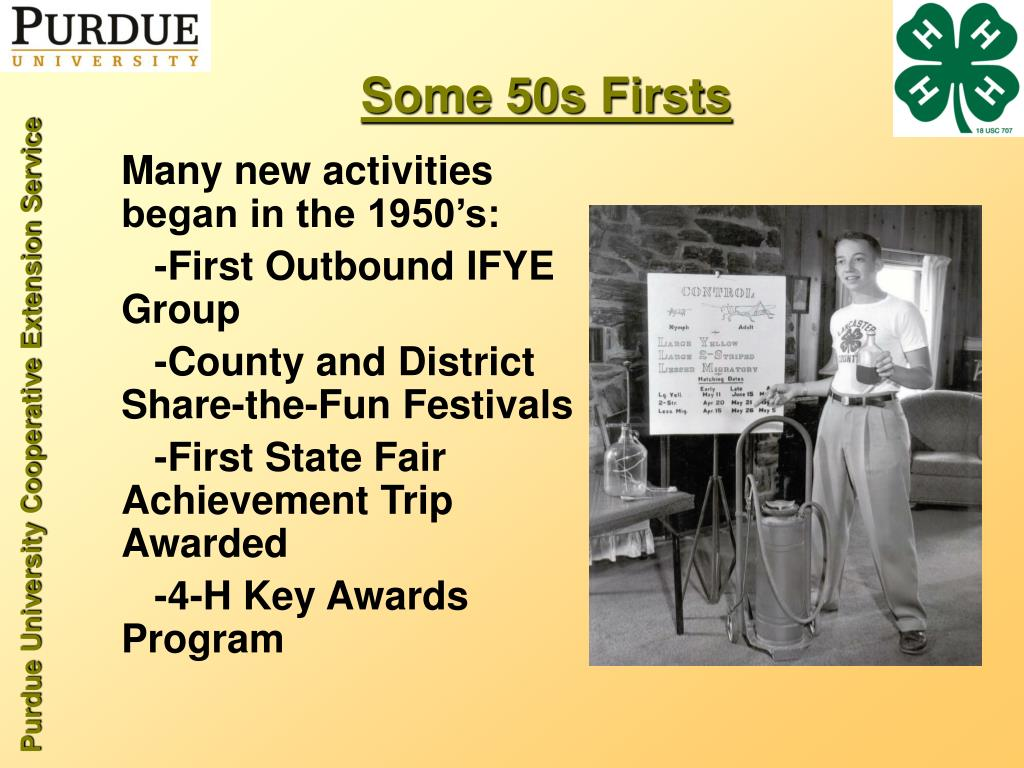 Many new activities began in the 1950's: