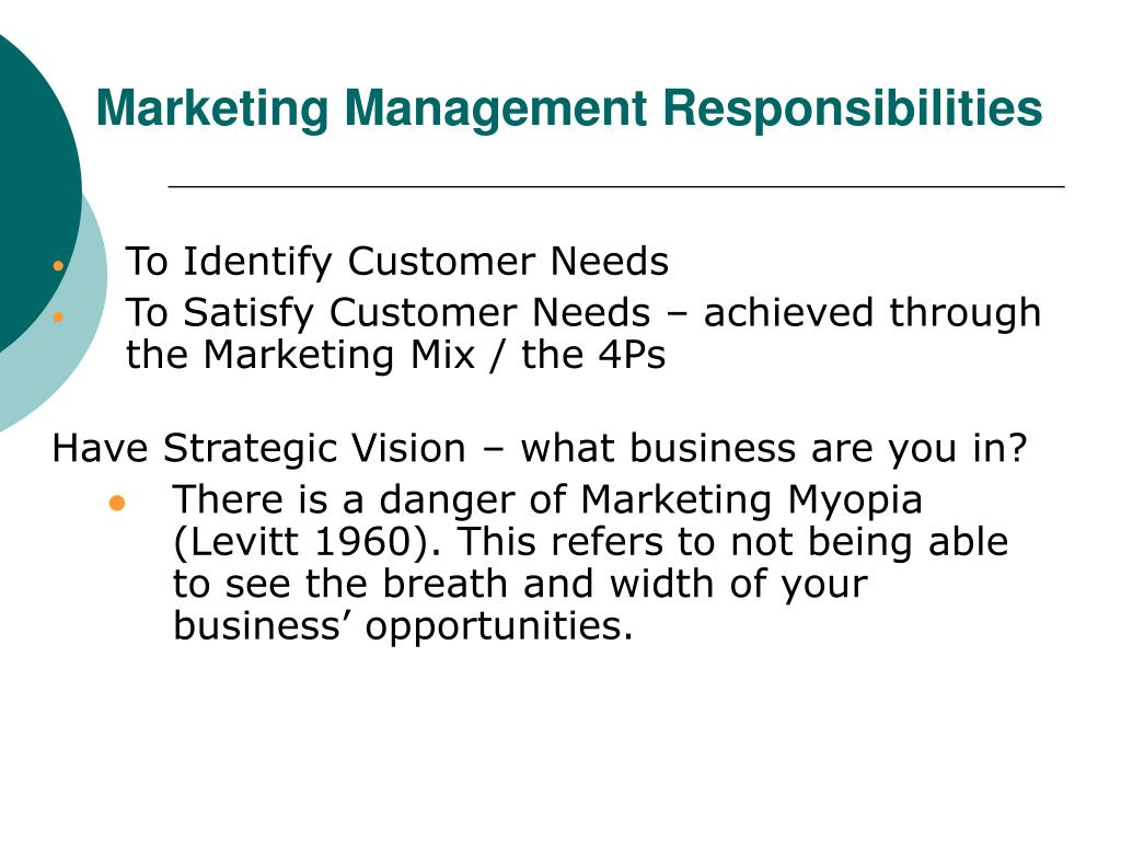 Marketing Management Responsibilities