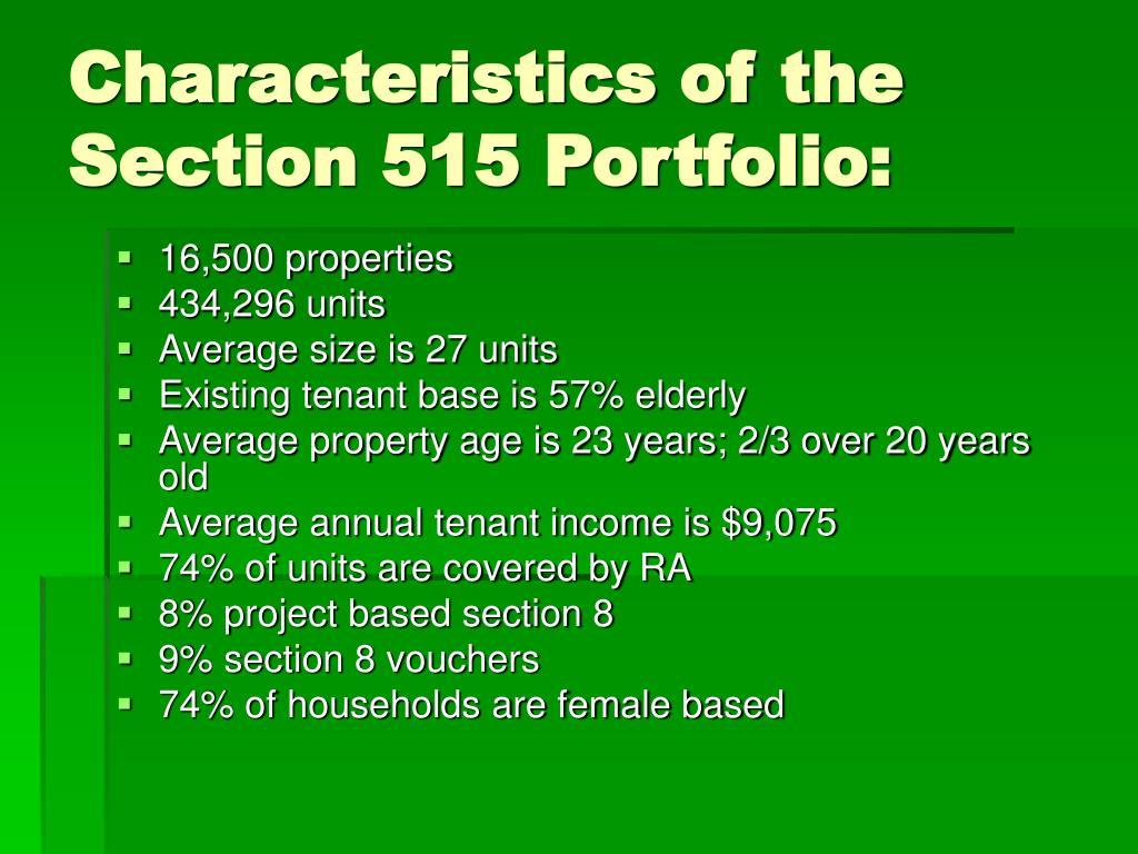 Characteristics of the Section 515 Portfolio:
