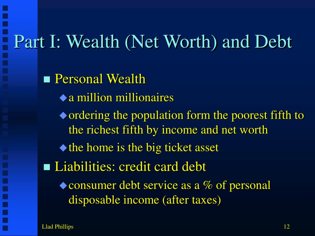 Part I: Wealth (Net Worth) and Debt