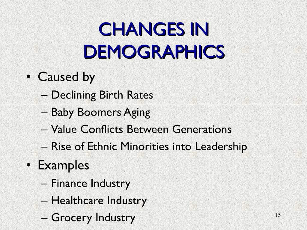 CHANGES IN DEMOGRAPHICS