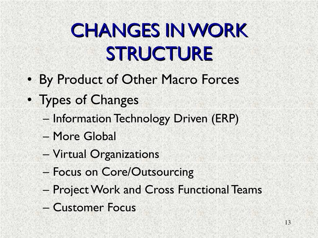 CHANGES IN WORK STRUCTURE