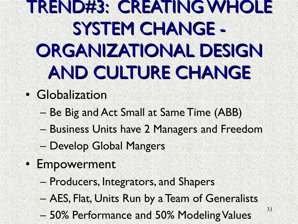 TREND#3:  CREATING WHOLE SYSTEM CHANGE - ORGANIZATIONAL DESIGN AND CULTURE CHANGE