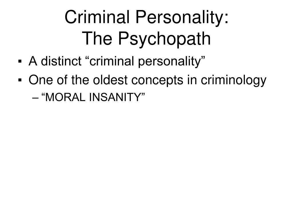 Criminal Personality: